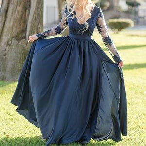 Beautiful wedding prom dress navy blue